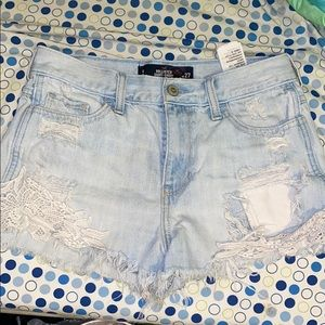 Denim hollister high rise shorts